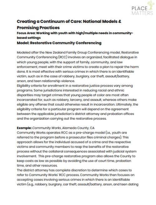 Restorative Community Conferencing Info Sheet