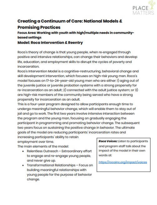 Roca Intervention Model Summary