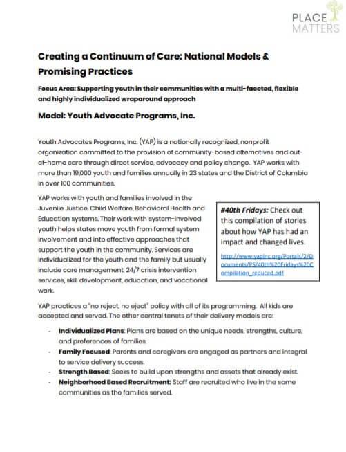 Youth Advocate Programs Info Sheet